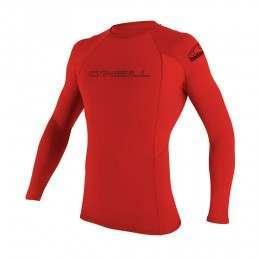 ONeill Basic Skins Long Sleeve Rash Vest Red