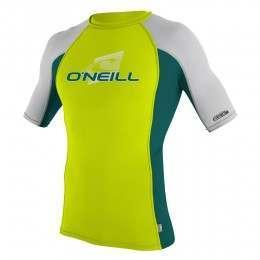 ONeill Kids Skins Short Sleeve Rash Vest Lime