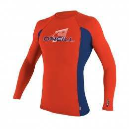 ONeill Kids Skins Long Sleeve Rash Vest Neon Red