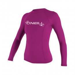 ONeill Womens Basic Skins Long Sleeve Rashvest Pnk