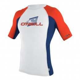 ONeill Skins Short Sleeve Rash Vest Wht/Navy/Neon