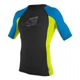 ONeill Skins Short Sleeve Rash Vest Blk/Lime/Blu