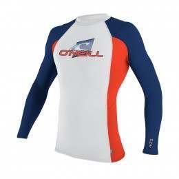 ONeill Skins Long Sleeve Rash Vest Wht/Neonred/Nvy