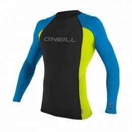ONeill Skins Long Sleeve Rash Vest Blk/Lime/Blu