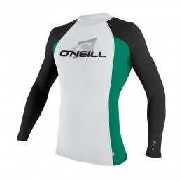 ONeill Skins Long Sleeve Rash Vest Wht/Spruce/Blk