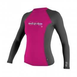 ONeill Girls Skins Long Sleeve Rash Vest Berry/Gra