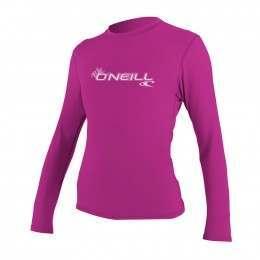 ONeill Womens Basic Skins Long Sleeve Rash Tee Pnk