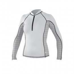 ONeill Womens Zipped Long Sleeve Rash Vest Wht/Stp