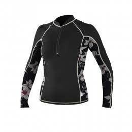 ONeill Womens Zipped Long Sleeve Rash Vest Blk/Alb