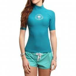 Billabong Logo in Short Sleeve Rash Vest Jade