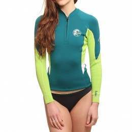 ONeill Womens Bahia Front Zip Wetsuit Jacket Teal