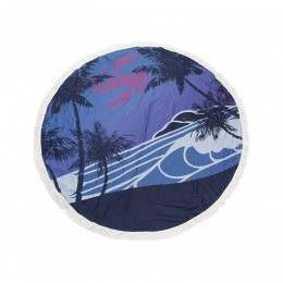 Sola Round Beach Towel Blue