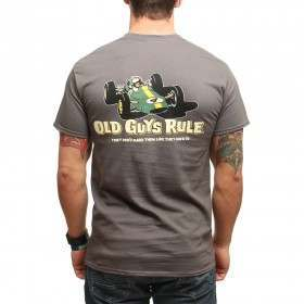 Old Guys Rule Classic Racer Tee Charcoal