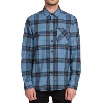 Volcom Caden Plaid Shirt Blue Rinse