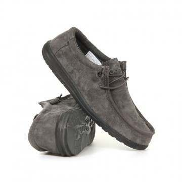 Hey Dude Wally Suede Shoes Charcoal