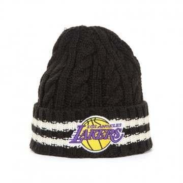 New Era Team Stripe Knit Beanie LA Lakers Black