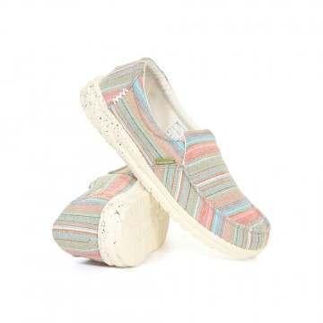 Hey Dude Misty Chambray Stripes Slip-Ons Grass