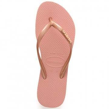 Havaianas Slim Logo Metallic Sandals Nude/Rose Gol