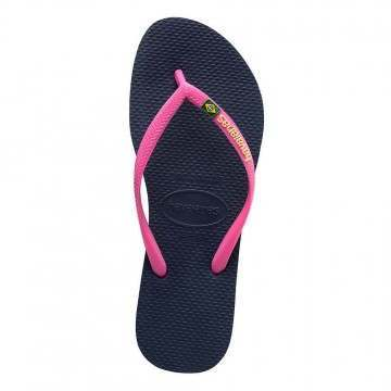 Havaianas Slim Brasil Logo Sandals Navy Blue