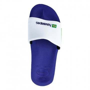 Havaianas Slide Brasil Sandals Marine/White