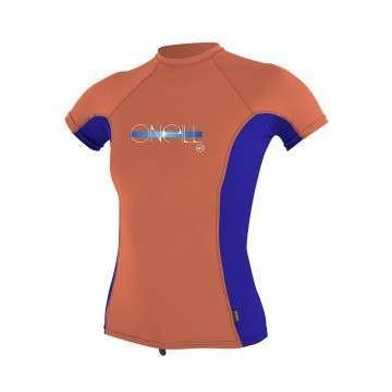 ONeill Girls Skins Short Sleeve Rash Vest Coral