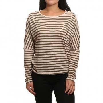 ONeill Ess Striped Long Sleeve Top Pink AOP/Green