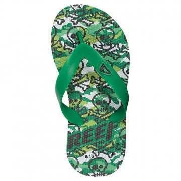 REEF BOYS GROM JAMAICAN SANDALS Green Skulls