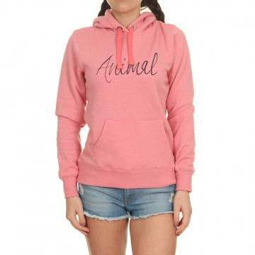 Animal Sketched Hoody Strawberry Pink