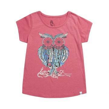 Animal Girls Dream Owl Tee Pink Marl