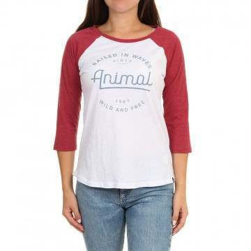 Animal Wipeout Long Sleeve Top Dragon Red Marl