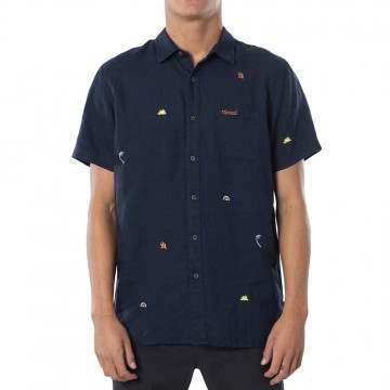 Ripcurl SWC Motif Linen Shirt Navy