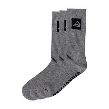 Quiksilver 3 Pack Crew Socks Light Grey