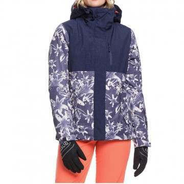 Roxy Jetty Block Snow Jacket Denim Flowers