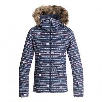 Roxy Girls Jet Ski Snow Jacket Blue Stripes