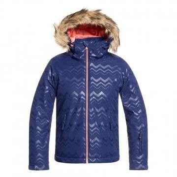 Roxy Girls Jet Ski Solid Snow Jacket Aztec Blue