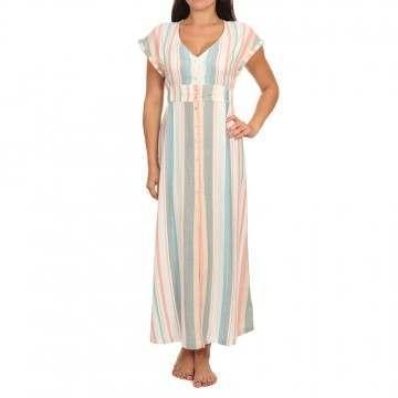 Roxy Furore Lagoon Stripe Dress Snow White