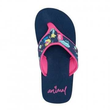 Animal Girls Swish Upper AOP Sandals Ind Blue