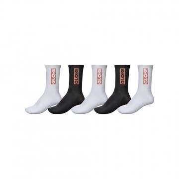Globe Bar Crew Sock 5 Pack Assorted