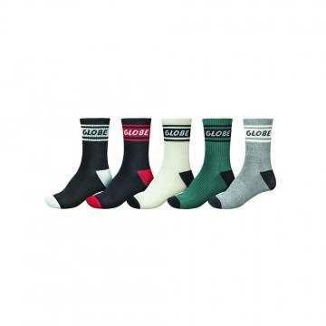 Globe Schooler Crew Socks 5 Pack Assorted