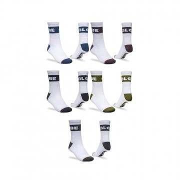 Globe Horizons Crew Sock 5 Pack White Assorted