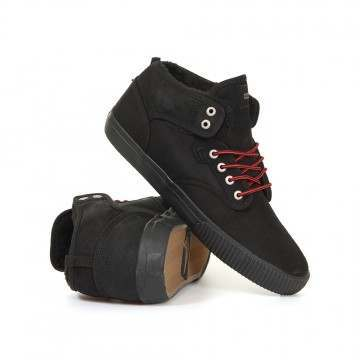Globe Motley Mid Shoes Black/Red/Fur