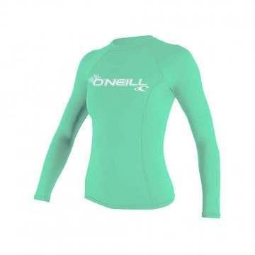 ONeill Womens Basic Long Sleeve Rash Vest Aqua