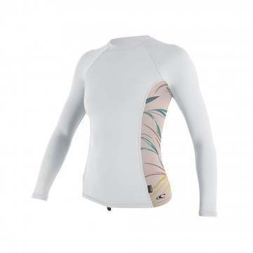 ONeill Womens Side Print Long Sleeve Rash Vest Wht