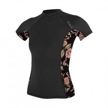 ONeill Womens Side Print Rash Vest Black