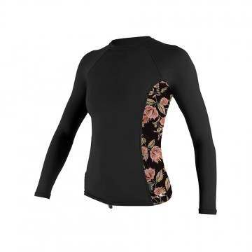 ONeill Womens Side Print Long Sleeve Rash Vest BLK