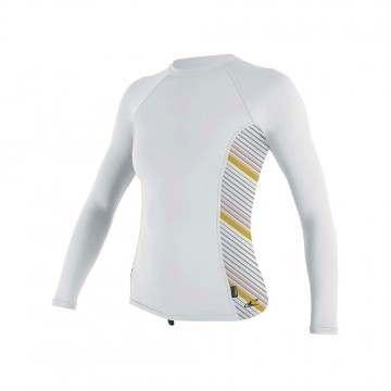 ONeill Womens Side Print Long Sleeve Rash Vest Whi