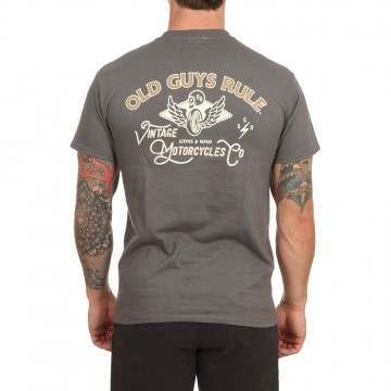 Old Guys Rule Vintage Motorcycles 2 Tee Charcoal