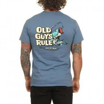 Old Guys Rule Kiss My Bass Tee Indigo Blue