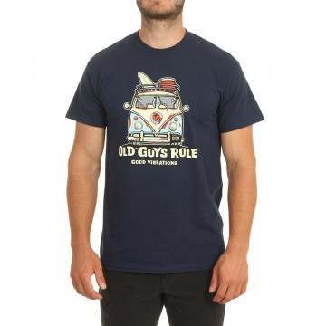 Old Guys Rule Good Vibrations 3 Tee Navy
