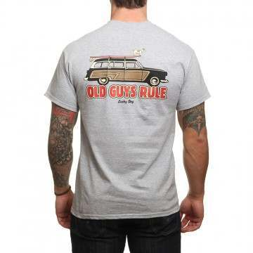 Old Guys Rule Lucky Dog Tee Sports Grey